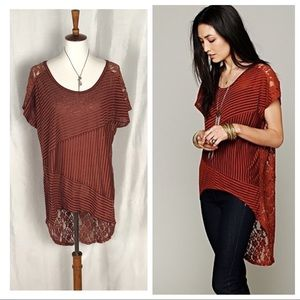 💥Free People Daydream rust lace striped tunic top